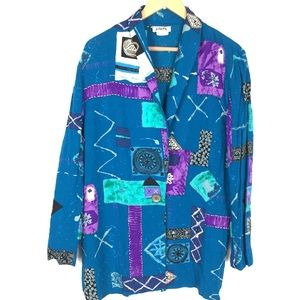 Vintage L/XL 90's abstract cardigan blouse top